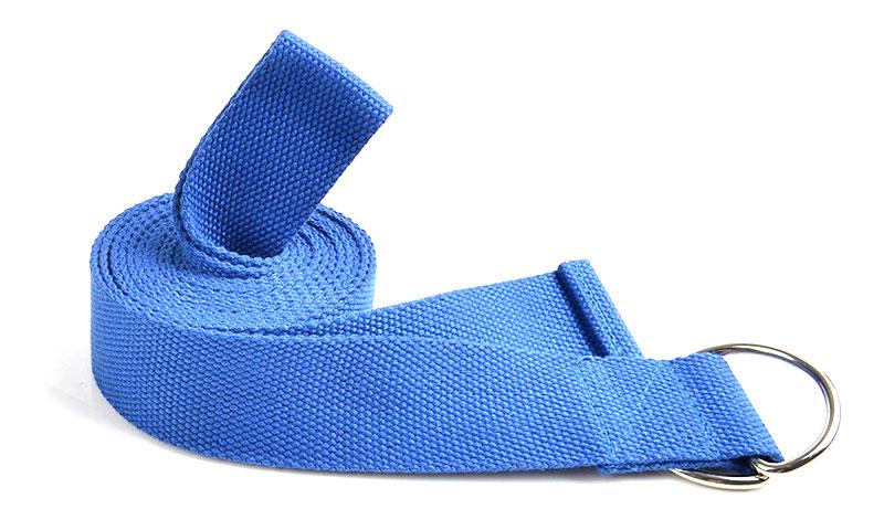 blue D-ring yoga strap