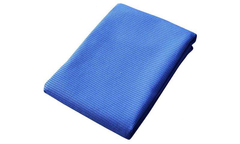 blue waffel yoga towel